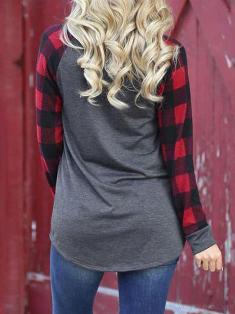 Halloween Pumpkin Print Plaid Sleeve T-shirt
