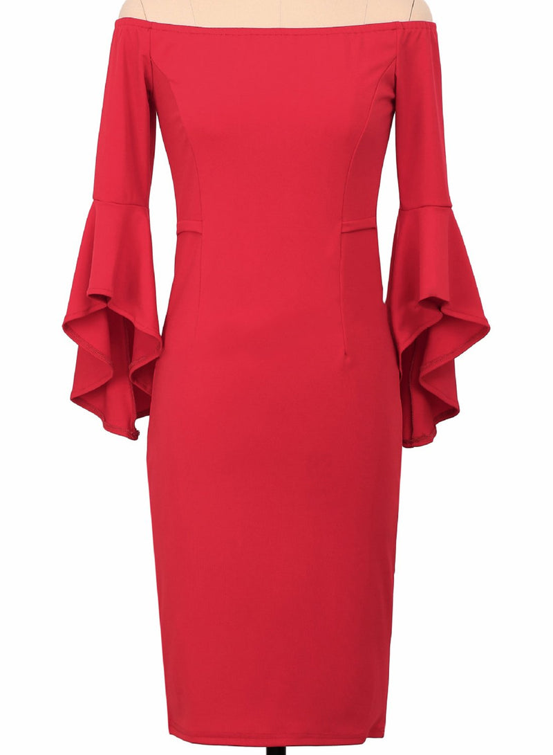Off Shoulder Flounce Sleeve Bodycon Party Dress - Landing Closet
