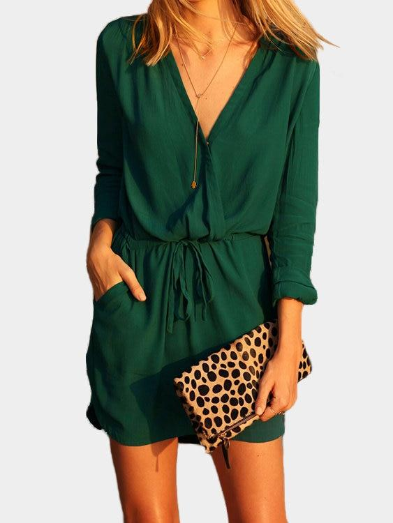 Green V-neck Drawstring Waist 3-4 Length Sleeves Dress with See-through Design - Landing Closet