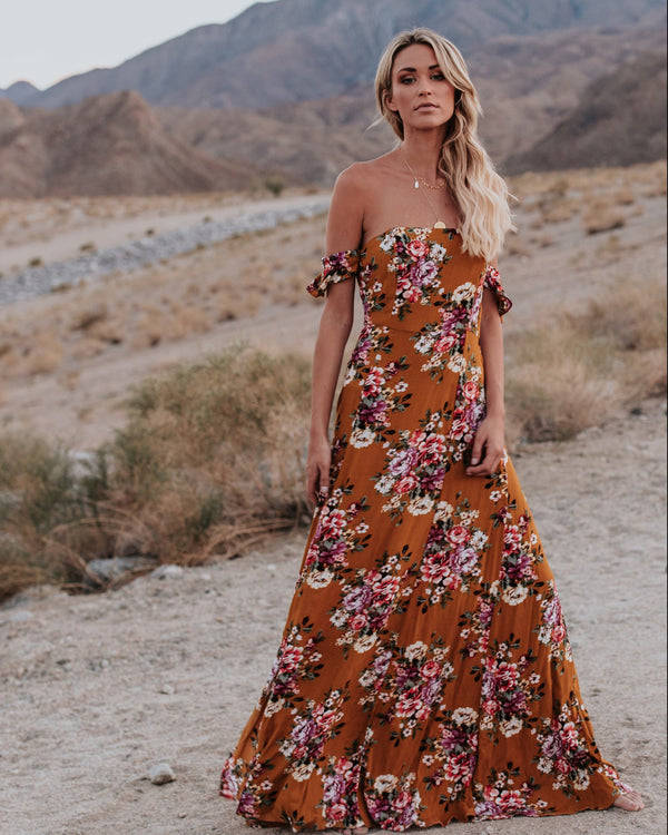 Flowers Printed Off Shoulder Party Maxi Dress - Landing Closet