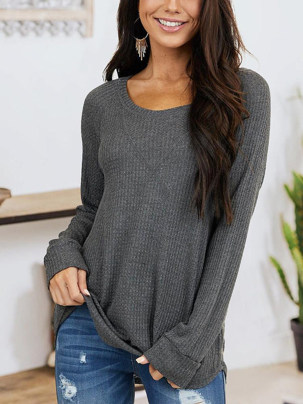 Loose Solid Long Sleeve T-shirt