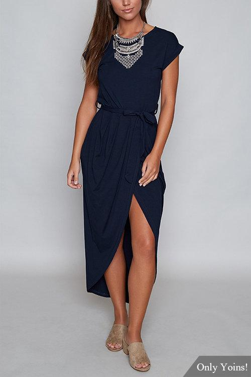 Navy Self-tie Design Irregular Hem Dress - Landing Closet
