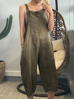 Women's Pocket  Cotton Solid Strappy Loose Jumpsuit