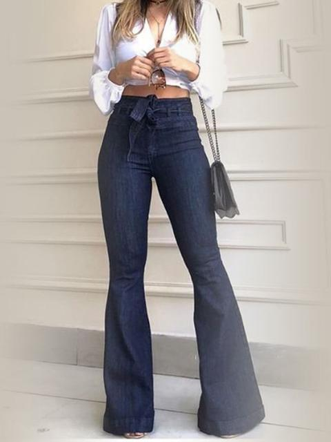 Denim Belted High Waist Flared Jeans
