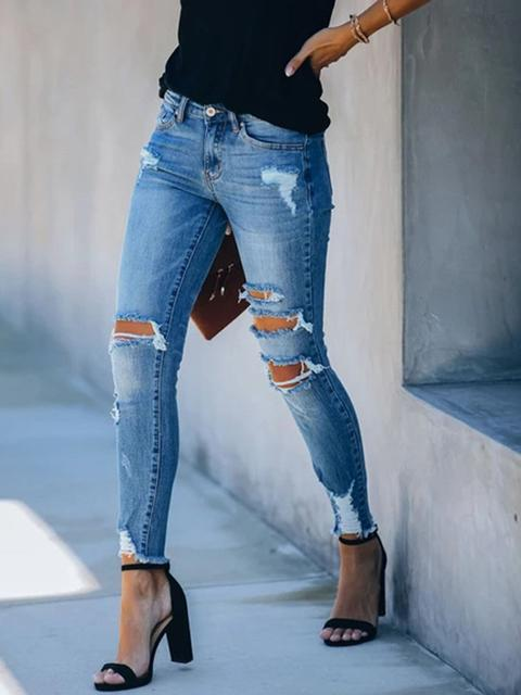 Denim Hole Tassel Jeans