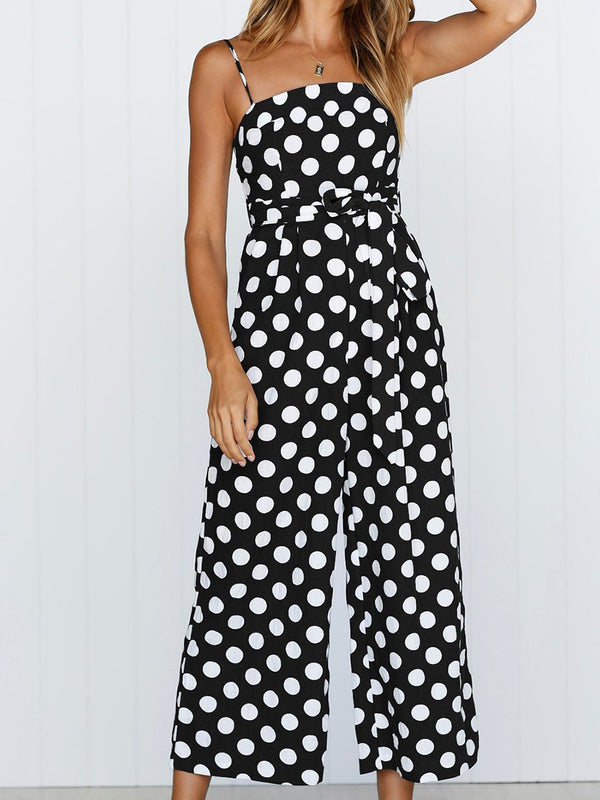 Straps Polka Dot Loose Jumpsuit