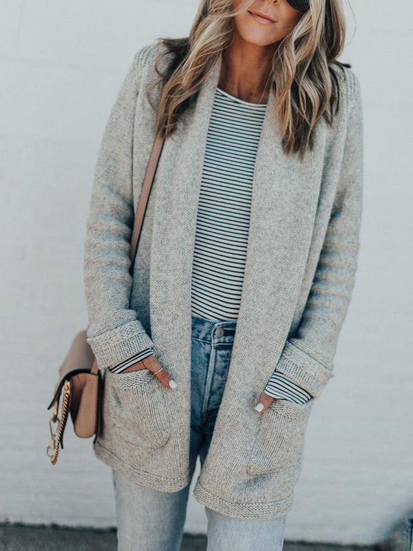 Solid Color Pocket Mid-length Cardigan