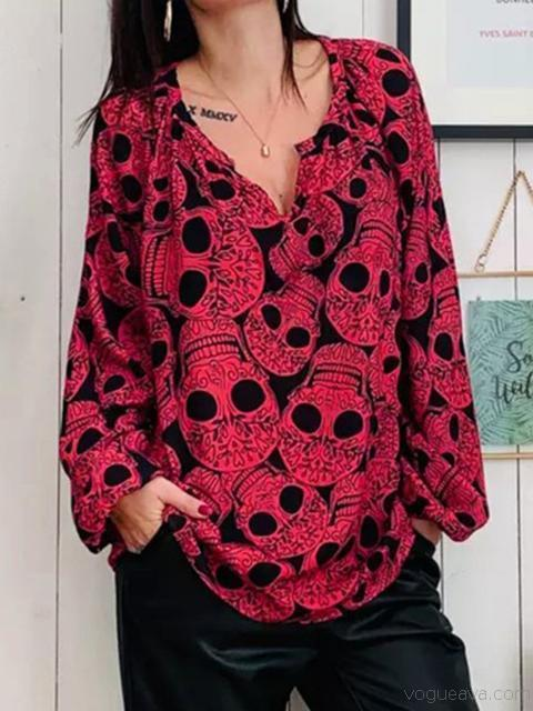 Halloween All Over Skull Pattern V Neck T-Shirt