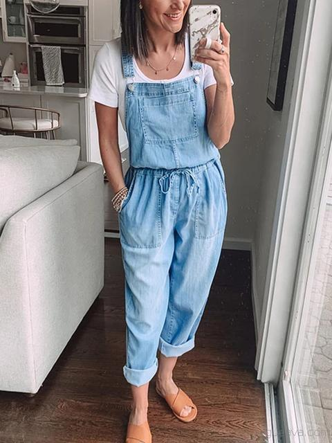 Vintage Drawstring Denim Jumpsuit