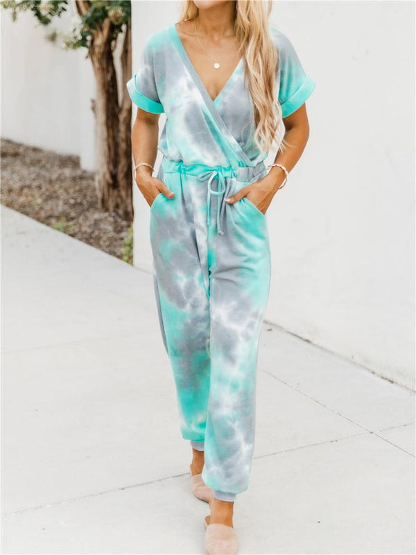 Tie-dye Printed V-neck Short-sleeved Casual Jumpsuit