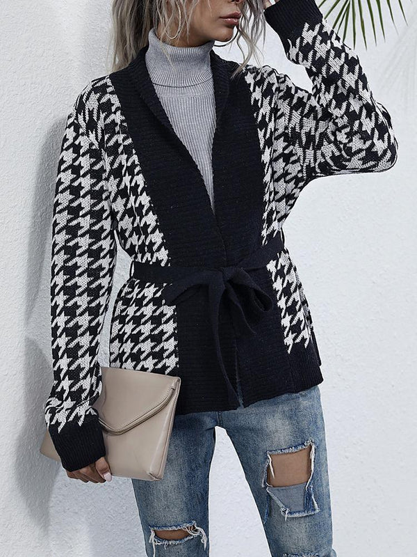 Houndstooth Lace-up V-neck Black Cardigan