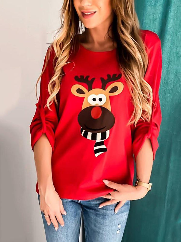 Christmas Cartoon Elk Long Sleeve T-shirt