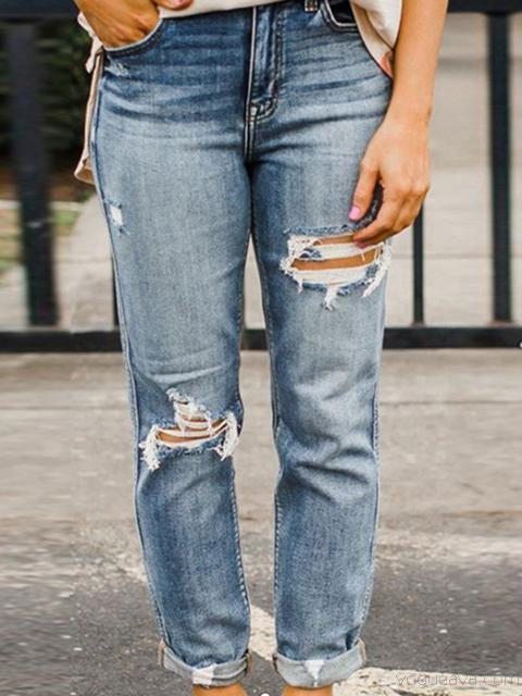 Loose Hole Denim Jeans