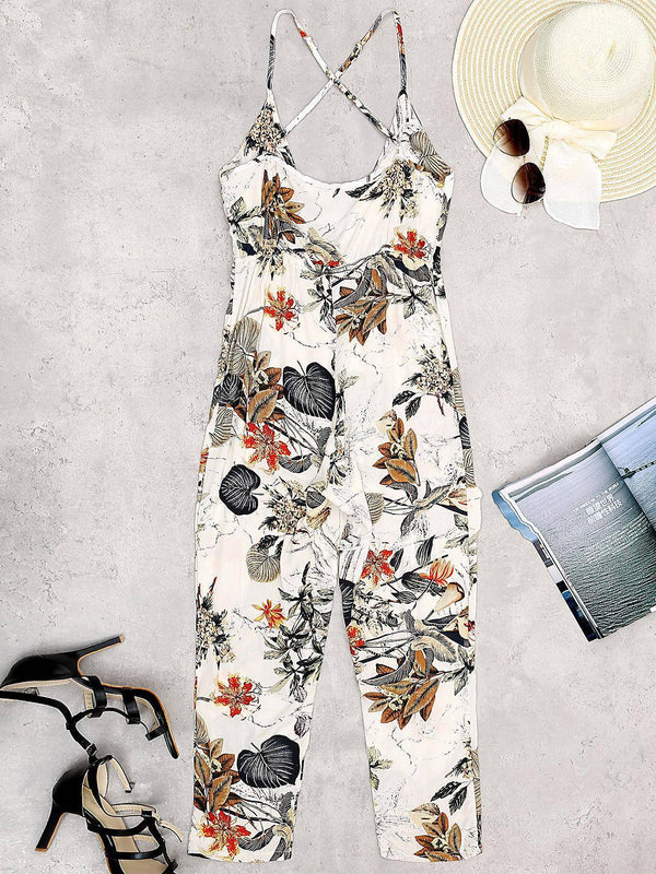 Floral Print V-neck Sleeveless Jumpsuit - Landing Closet