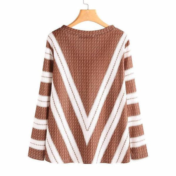 Striped Sexy V-Neck Casual Sweater