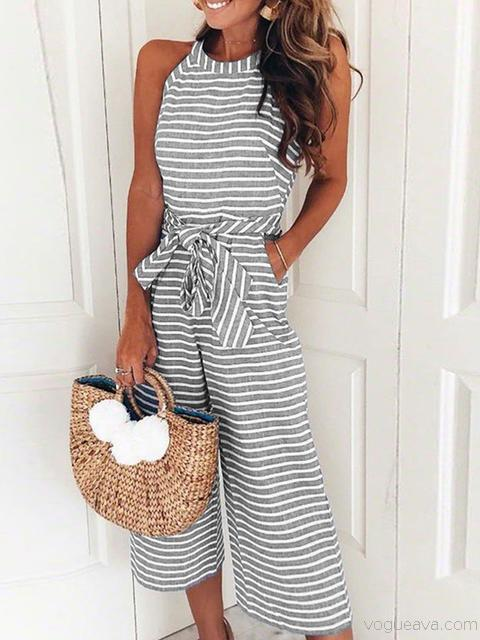 Sleeveless Striped Print Casual Jumpsuit