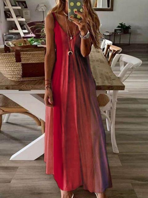 Gradient V-neck Maxi Dress