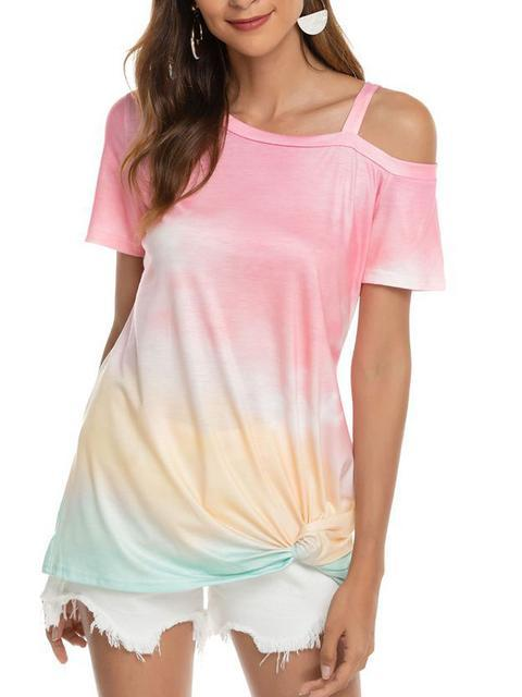 Gradient Color Cold Shoulder Twisted T-shirt