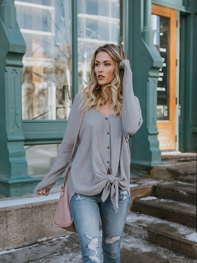 Grey Knotted V-neck Long Sleeved Button Sweater