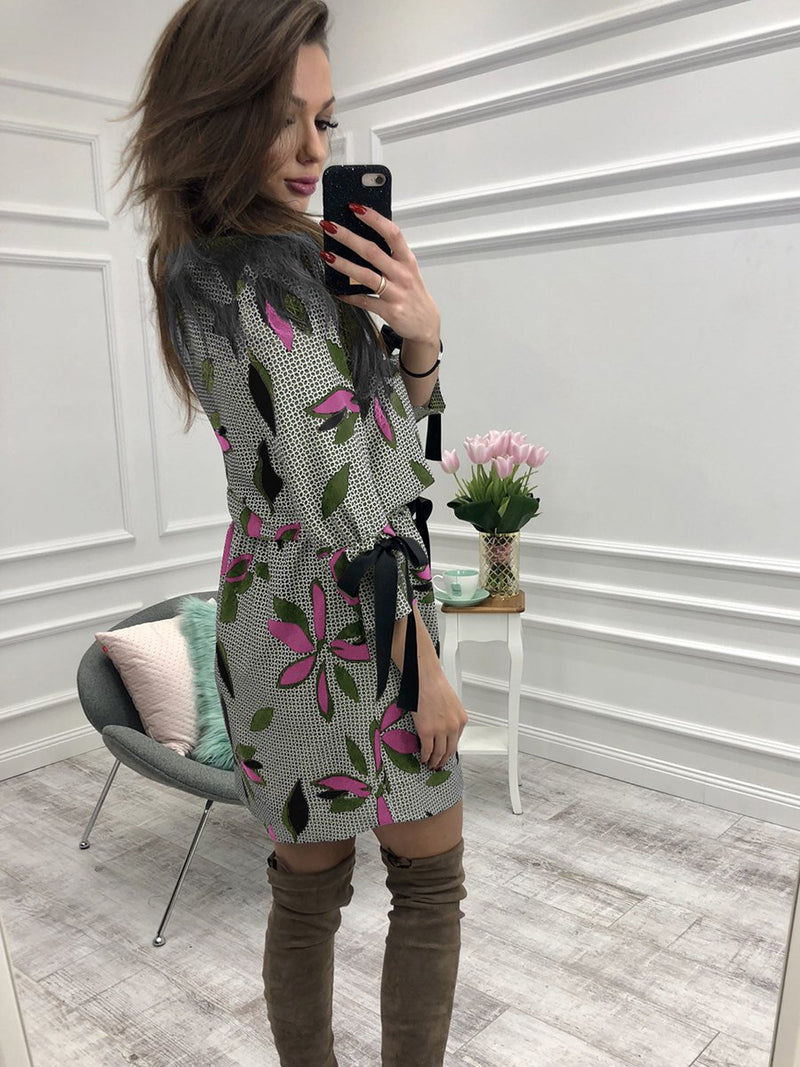 Floral Printed Round Neck Long Sleeves Midi Dress