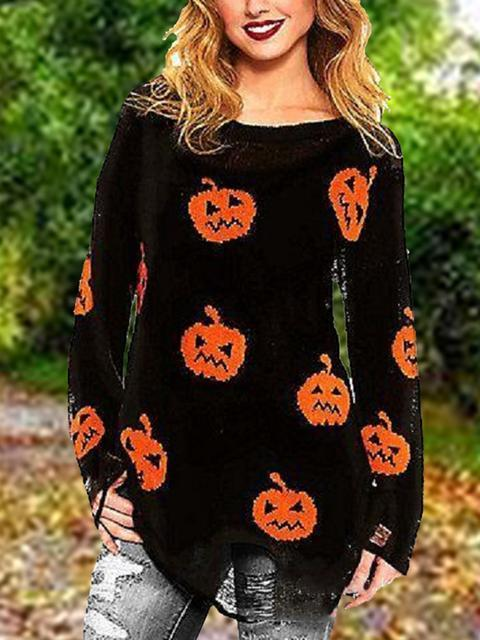 Halloween Dobladillo Irregular Casual Tops