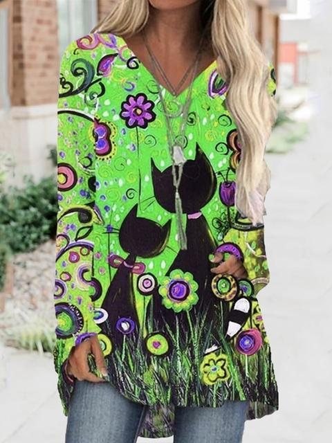 Halloween Floral Print Tunic Tops