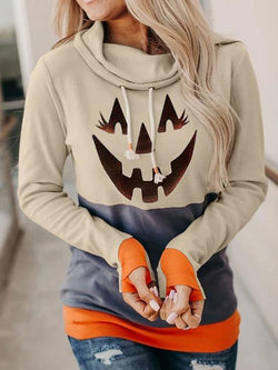 Halloween Print Color Block Pullover