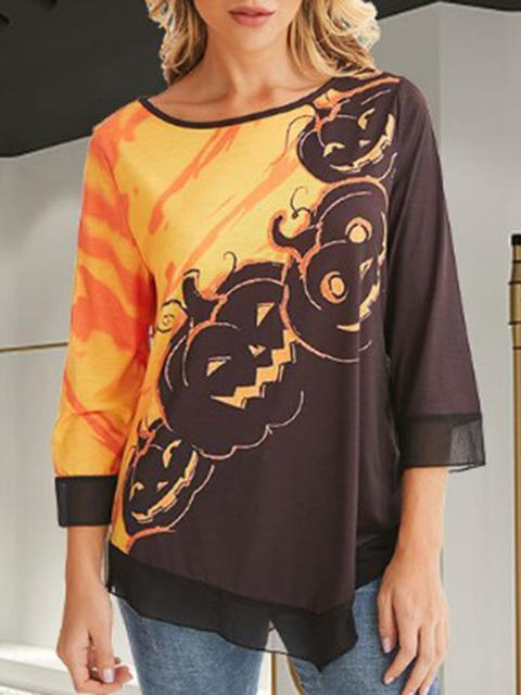 Halloween Print  Long Sleeve Blouse