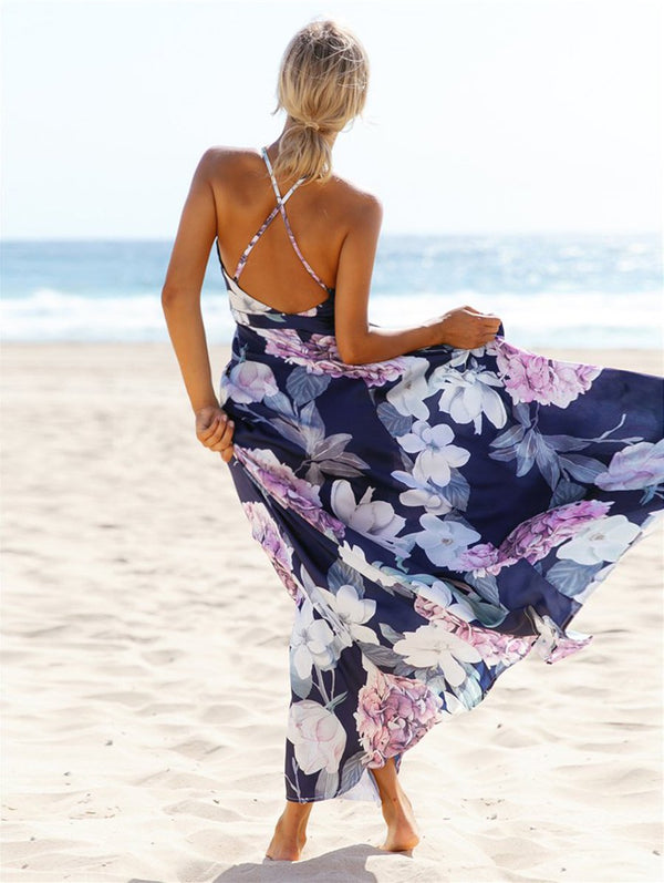Floral Deep V-neck Maxi Dress - Landing Closet