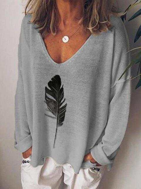 Leaves Print Loose Sweater Tops