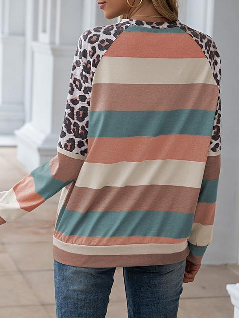 Leopard Patchwork Color Block Tops