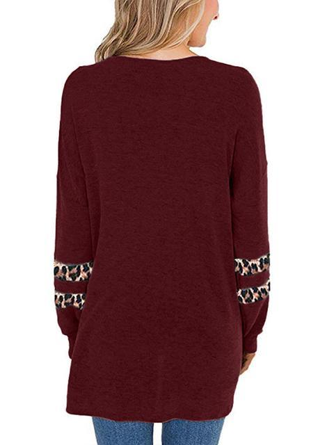 Leopard Patchwork Long Sleeve Tops
