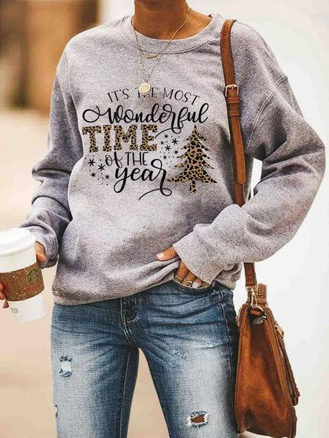 Leopard Plaid Print Christmas Sweatshirt