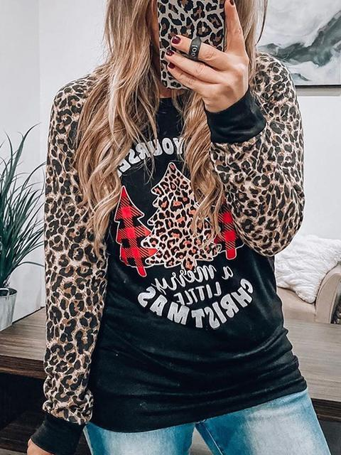 Leopard Sleeve Christmas Print Tops