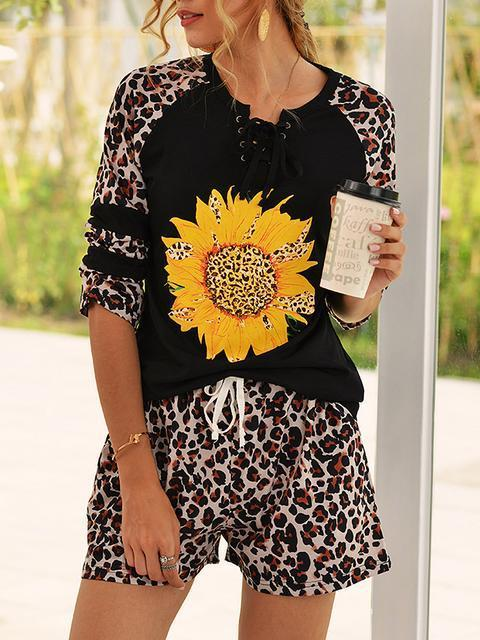 Leopard Sunflower Print Shorts Set