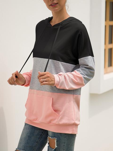 Long Sleeve Color Block Hooded Sweatshirt
