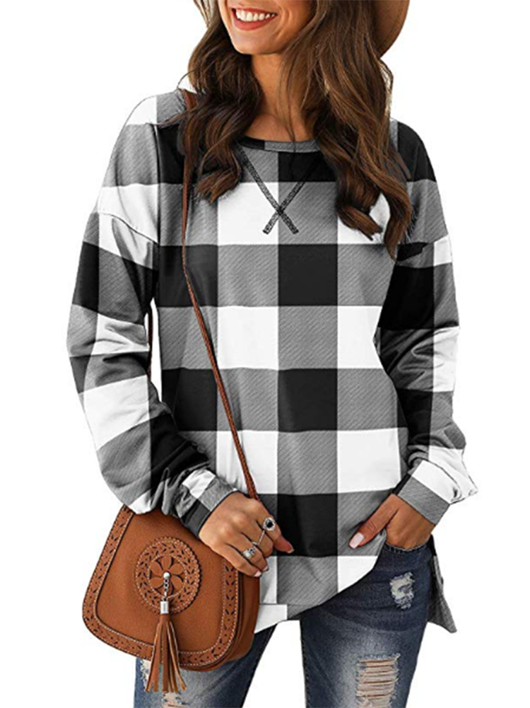 Long Sleeve Plaid Print Causal Tops