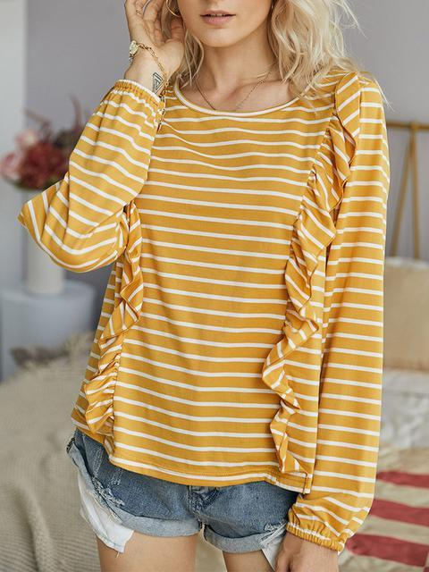 Long Sleeve Stripes Print Knitted Tops
