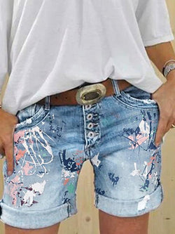 Multi-button Printed Denim Shorts