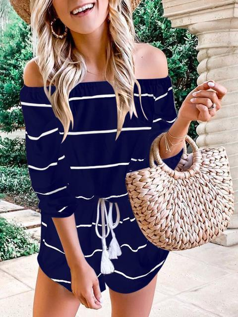 Off Shoulder Striped One-piece Rompers