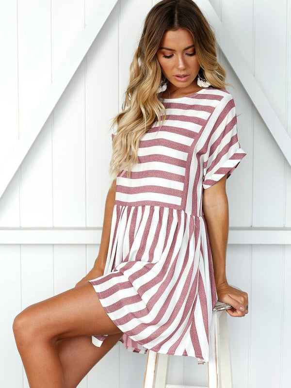 Pink Short Sleeve Stripe Summer Dress - Landing Closet