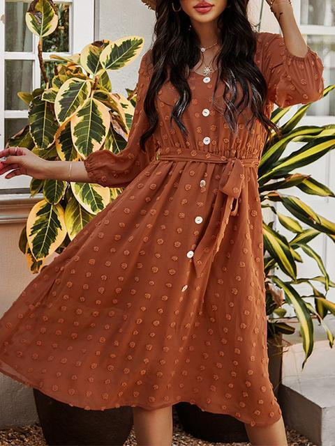 Polka Dot Button Belted Long Dress