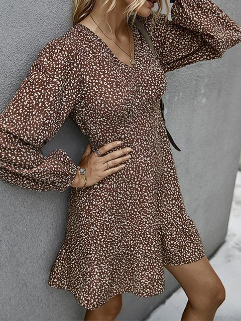 Polka Dot Print V Neck Casual Dress