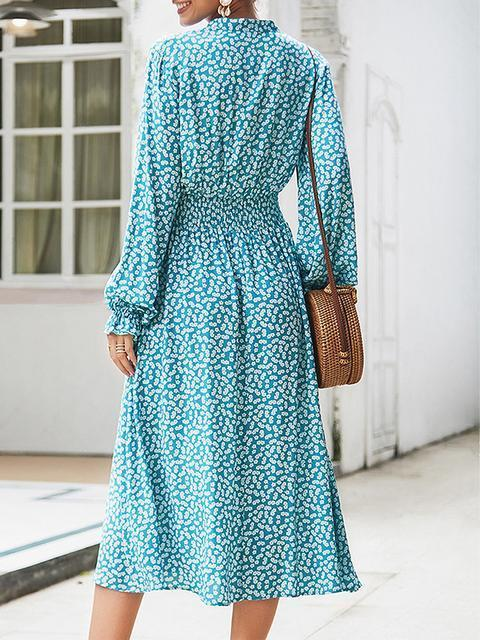 Polka Dot Print V Neck Midi Dress