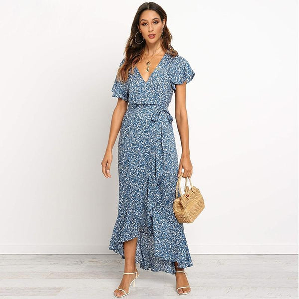 Casual Boho Floral Print Beach Long Dress