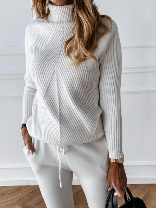 Solid Color Turtleneck Sweater Set