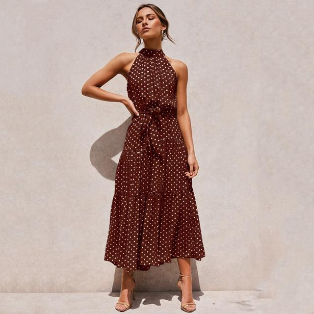 Halter Polka Dot Casual Long Dress