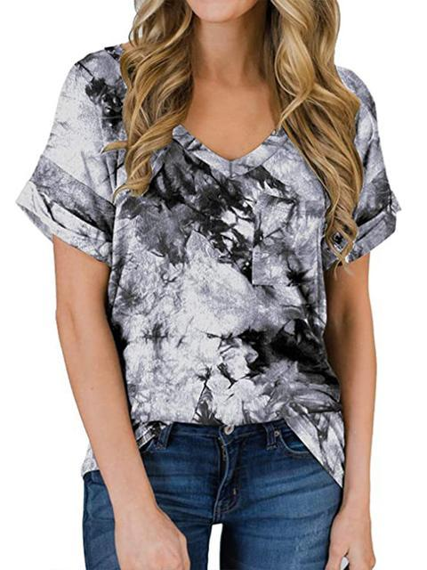 Tie-dye Print V-neck Loose Tops