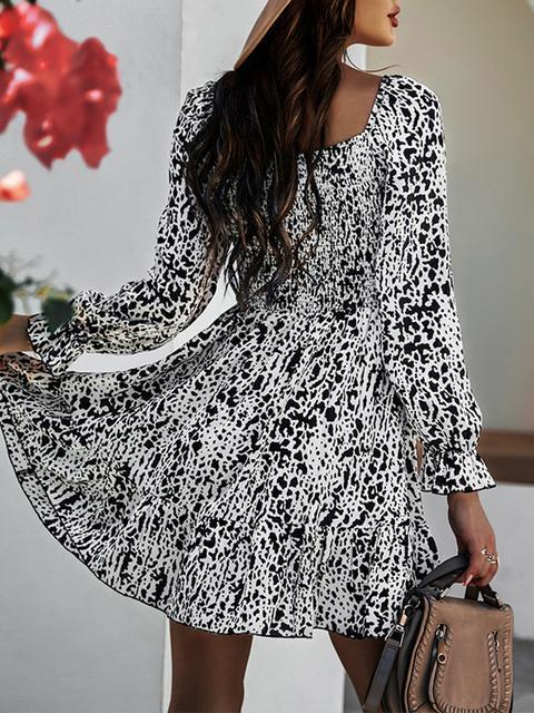 Round Neck Print Long Sleeve Casual Dress