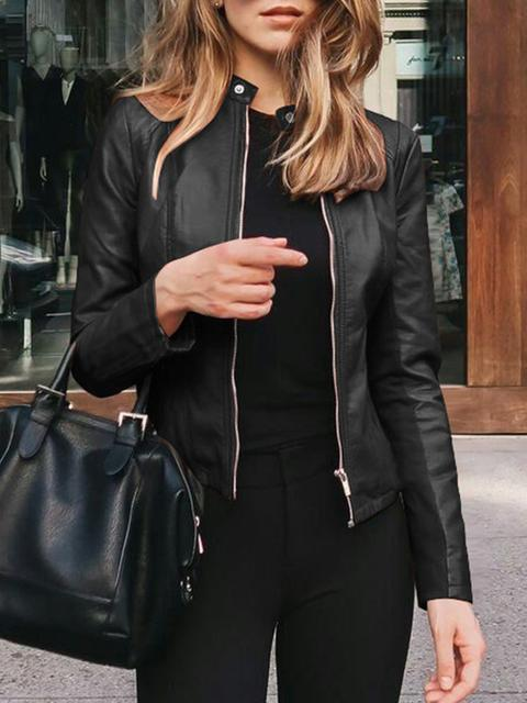 Solid Color  Zipper Short Leather Jacket